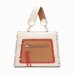 Fendi White/Red Leather with Bows Runaway Small Bag