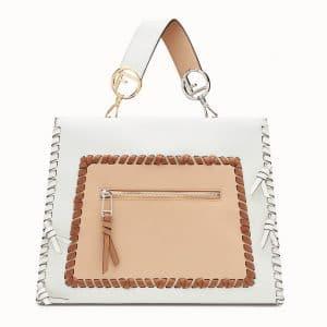 Fendi White/Tan Leather with Bows Runaway Regular Bag
