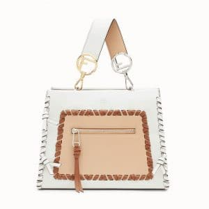 Fendi White/Tan Leather with Bows Runaway Small Bag