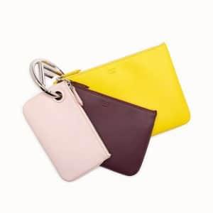 Fendi Yellow/Burgundy/Pink Triplette Clutch Bag