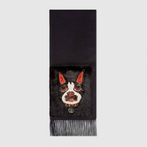 Gucci Black Silk Cashmere Scarf with Orso and Mink Pockets