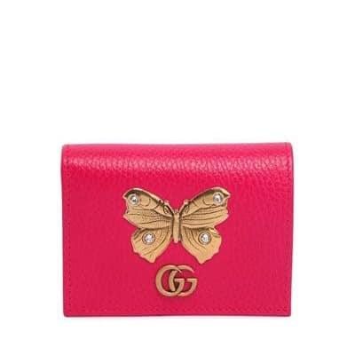 Gucci Butterfly Leather Card Case