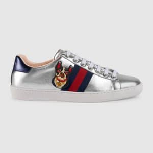 Gucci Metallic Silver Bosco/Orso Ace Embroidered Sneaker