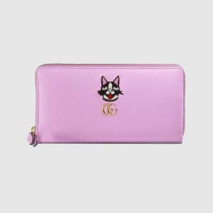 Gucci Pink Bosco Leather Zip Around Wallet