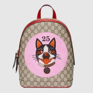 Gucci Pink Bosco Patch GG Supreme Backpack Bag