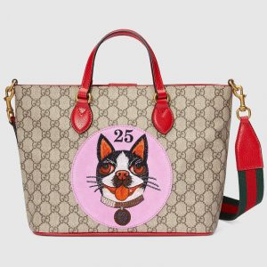 Gucci Pink Bosco Patch GG Supreme Tote Bag