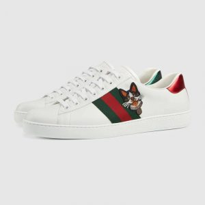 Gucci White Bosco/Orso Ace Embroidered Sneaker