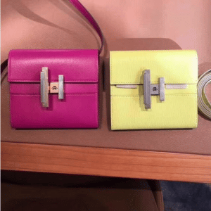 Hermes Rose Poudre and Yellow Mini Cinhetic Clutch Bags
