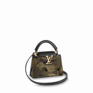 Louis Vuitton Noir Beaded Capucines Mini Bag