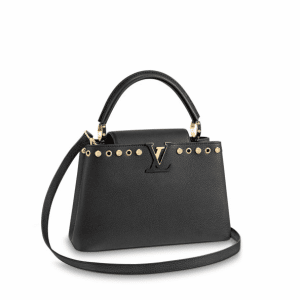 Louis Vuitton Noir Studs & Eyelet Capucines PM Bag
