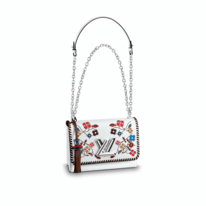Louis Vuitton White Monogram Flower Print Epi Twist MM Bag