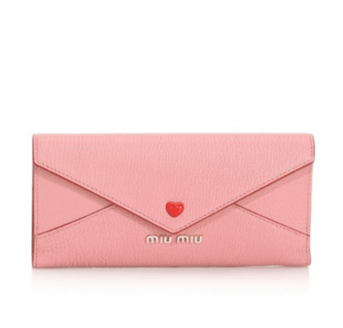 Miu Miu Larger Heart Leather Envelope Clutch