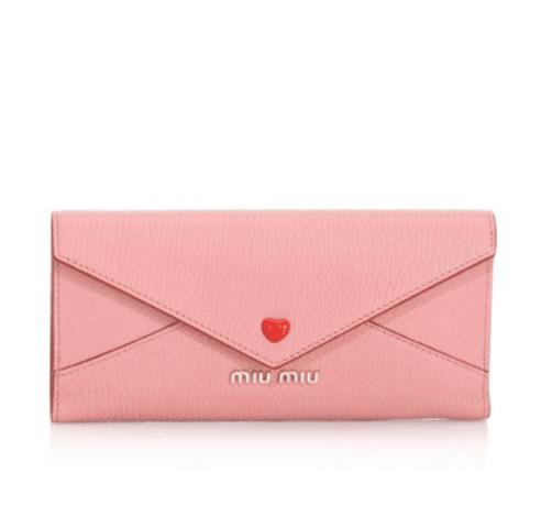 Miu Miu Larger Heart Leather Envelope Clutch