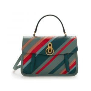Mulberry Antique Blue Diagonal Stripe Gracy Satchel Bag