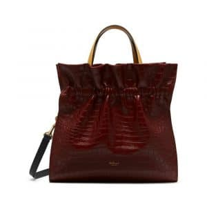 Mulberry Antique Ruby Croc-Embossed Lynton Bag