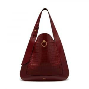 Mulberry Antique Ruby Croc-Embossed Nappa Marloes Hobo Bag