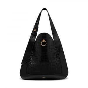Mulberry Black Croc-Embossed Nappa Marloes Hobo Bag