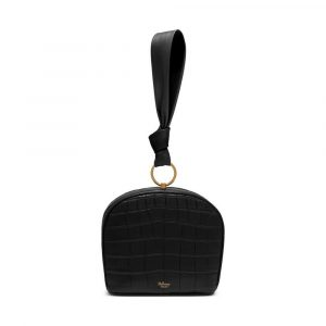 Mulberry Black Croc-Embossed Nappa Minety Clutch Bag