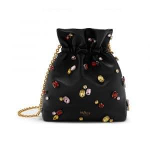 Mulberry Black Soft Lamb Nappa with Jewels Lynton Mini Bucket Bag