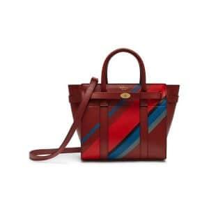 Mulberry Brick Diagonal Stripe Mini Zipped Bayswater Bag