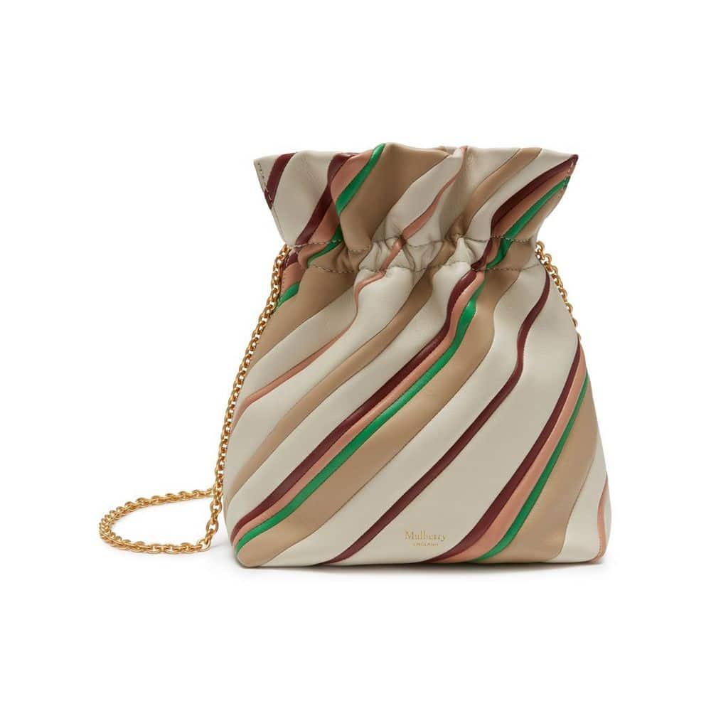7332055398 Mulberry Chalk Diagonal Stripe Lynton Mini Bucket Bag