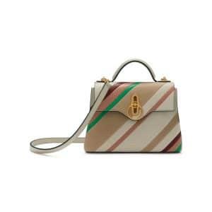 Mulberry Chalk Diagonal Stripe Mini Seaton Bag