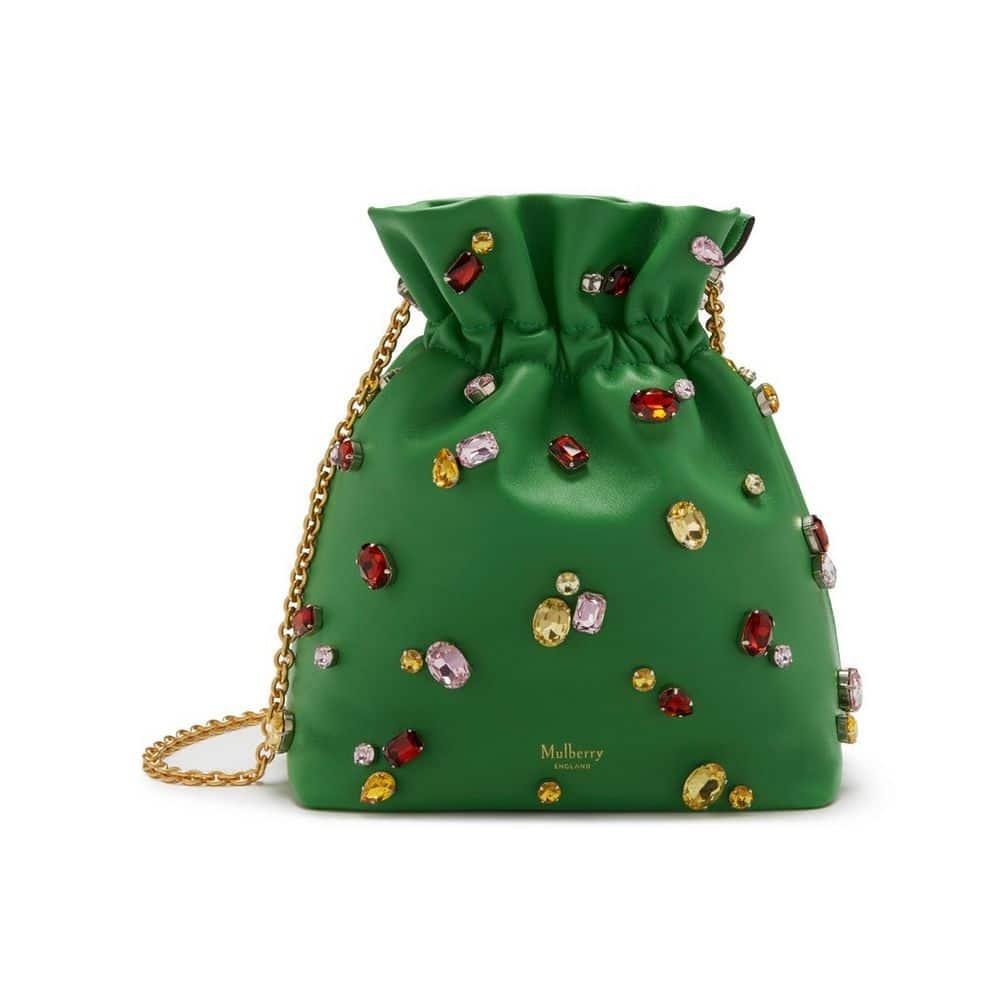 b5372c4965 Mulberry Field Green Soft Lamb Nappa with Jewels Lynton Mini Bucket Bag