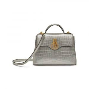 Mulberry Light Silver Metallic Croc-Embossed Mini Seaton Bag