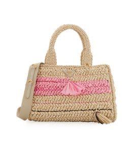 Prada Beige/Pink Raffia Large Tote Bag