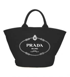 Prada Black Canvas Small Tote Bag