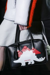 Prada Black Dinosaur Printed Top Handle Bag - Fall 2018