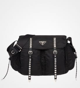 Prada Black Nylon Shoulder Bag with Canvas Strap