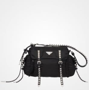 Prada Black Nylon Shoulder Bag with Studded Strap