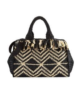 Prada Black Pattern Raffia Large Tote Bag