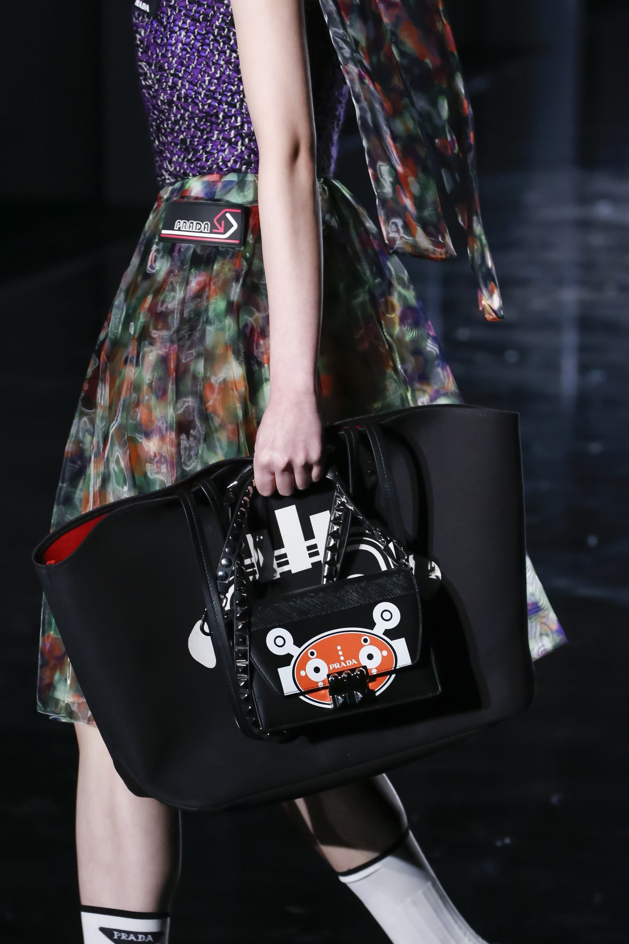01d3c352b4 Prada Black Robot Printed Mini Flap and Tote Bags - Fall 2018