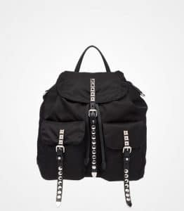 Prada Black Studded Nylon Backpack Bag
