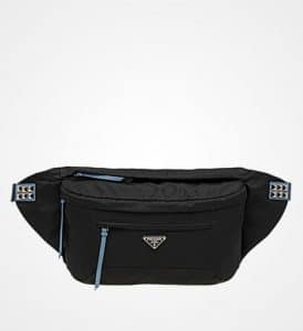 Prada Black/Astral Blue Nylon Belt Bag