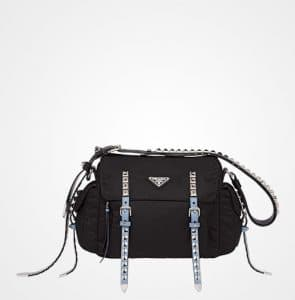 Prada Black/Astral Blue Nylon Shoulder Bag with Studded Strap