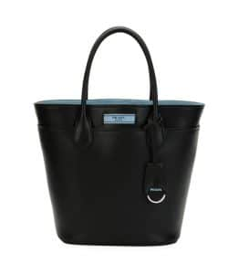 Prada Black/Blue City Calf Etiquette Tote Bag