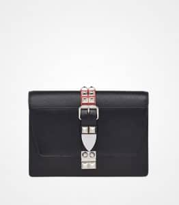 Prada Black/Fire Engine Red Elektra Calf Leather Bag