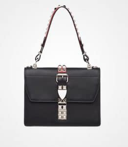 Prada Black/Fire Engine Red Elektra Shoulder Bag