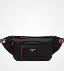 Prada Black/Fire Engine Red Nylon Belt Bag