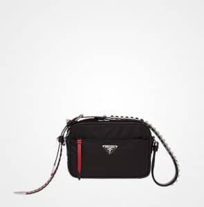 Prada Black/Fire Engine Red Nylon Camera Bag