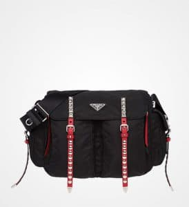 Prada Black/Fire Engine Red Nylon Shoulder Bag with Canvas Strap