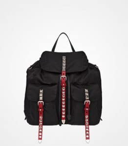 Prada Black/Fire Engine Red Studded Nylon Backpack Bag