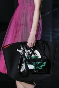 Prada Black/Green Banana Printed Tote and Flap Bag - Fall 2018