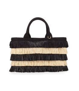 Prada Black/Natural Two-Tone Tiered Raffia Tote Bag