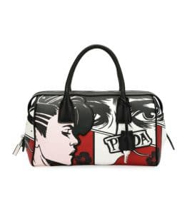 Prada Black/Red Comic Print Bowler Bag