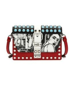 Prada Black/Red Comic Print Elektra Crossbody Bag