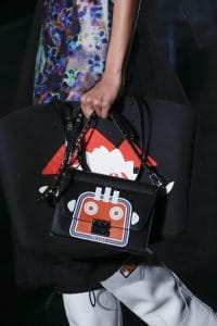 Prada Black/Red Robot Printed Flap and Tote Bag 2 - Fall 2018